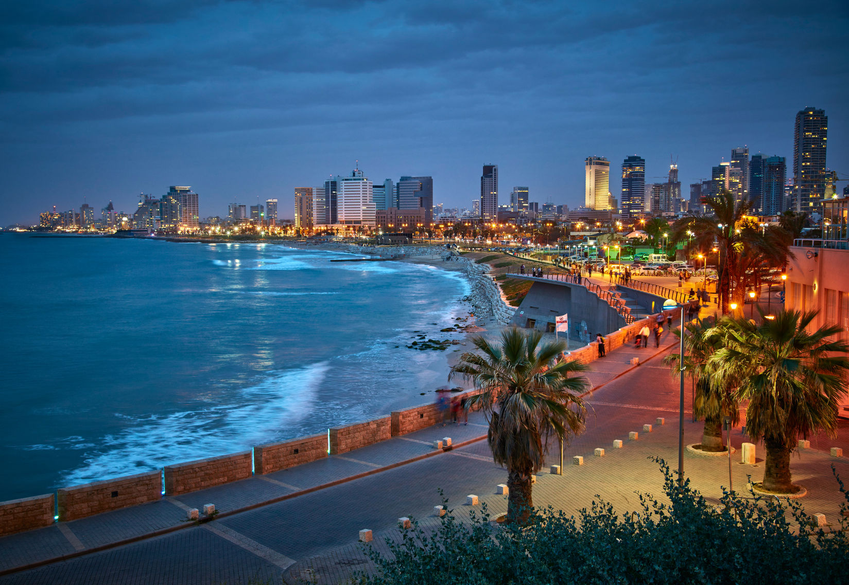 66677186 - waterfront of tel aviv. night view from jaffa.